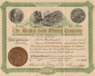Alaska Gold Mining Company of Indiana stock certificate 1897
