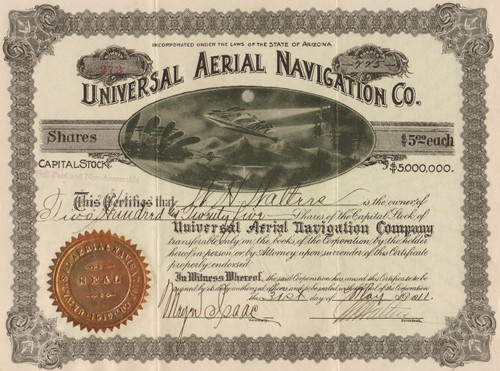 Universal Aerial Navigation Co stock certificate 1911