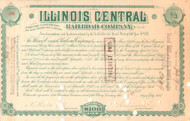 Illinois Central Railroad subscription scrip for one third of a share 1887