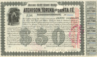 Atchison, Topeka, and Santa Fe RR Income Gold Bond Scrip 1894 - $50 olive