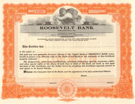 Roosevelt Bank stock certificate circa 1919