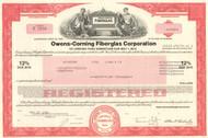 Owens-Corning Fiberglas Corporation bond certificate 1970's - red