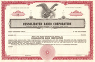 Consolidated Radio Corporation stock certificate circa 1956