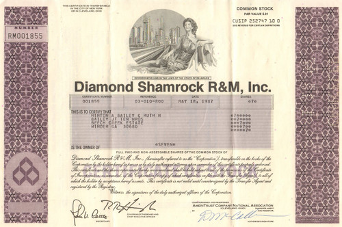 Diamond Shamrock R&C stock certificate 1980's (refiner and gas stations) - lavender