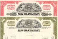 Sun Oil Company stock certificate 1970's - set of 2 colors