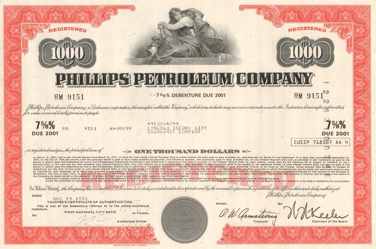 Phillips petroleum company bond certificate 1970 39 s for Corporate bond certificate template