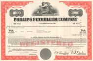 Phillips Petroleum Company bond certificate 1970's - red $1000
