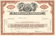 P. Lorillard Company stock certificate 1950s (cigarette maker) - brown