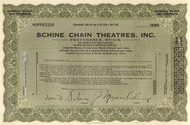 Schine Chain Theatres Inc. stock certificate circa 1928 (movie houses)
