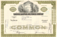 Virginia Electric and Power Company stock certificate 1960's