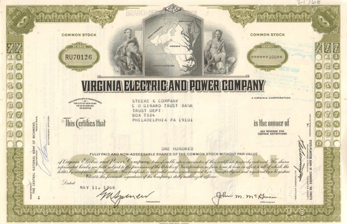 Virginia Electric And Power Company Stock Certificate 1960s Vepco