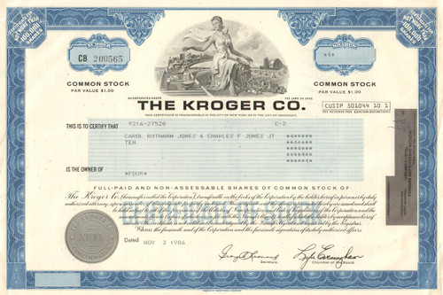 The Kroger Co. stock certificate 1986