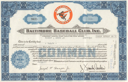 Baltimore Baseball Club stock certificate 1971 (Orioles)