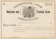 Horseshoe Lake Hunting and Fishing Club  stock certificate circa 1895  (Illinois)