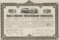 Old Colony Steamboat Company stock certificate 1889