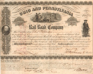 Ohio and Pennsylvania Rail Road Company stock certificate 1855
