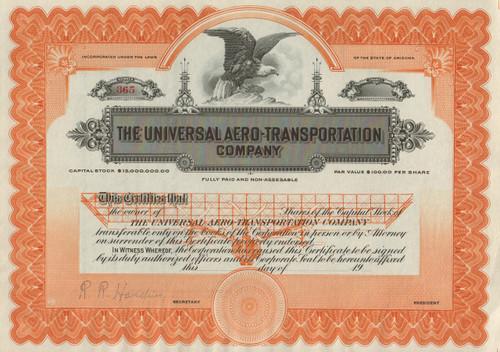 Universal Aero-Transportation Company stock certificate circa 1915