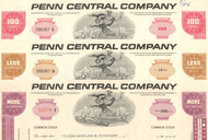 Penn Central Company stock certificate 1970's - set of 3 colors
