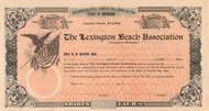 Lexington Beach Association stock certificate circa 1909 (Michigan)