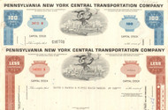 Pennsylvania New York Transportation Company stock certificate 1960's - set of 2 colors