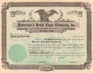 Patterson's Retail Cigar Company stock certificate circa 1927