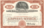 Patiño Mines & Enterprise Consolidated stock certificate 1950's