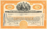 Prairie Pipe Line Company stock certificate 1930's -orange