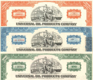 Universal Oil Products stock certificate 1970's - set of 3 colors