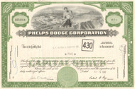 Phelps Dodge Corporation stock certificate 1967 (copper mining)- green