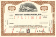 Playboy Enterprises Inc stock certificate specimen - brown