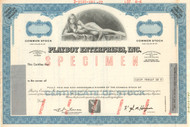 Playboy Enterprises Inc  stock certificate specimen - blue