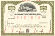 Playboy Enterprises Inc  stock certificate specimen - olive