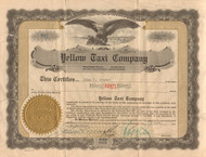 Yellow Taxi Company stock certificate 1924-1925 (Detroit cab company)