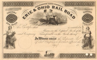 Erie & Ohio Rail Road stock certificate circa 1852