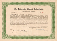 The University Club of Philadelphia certificate of interest 1937