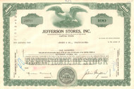 Jefferson Stores Inc stock certificate 1960's - green