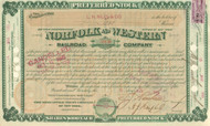 Norfolk and Western Railroad Company stock certificate 1880's