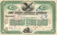 The North American Company stock certificate 1890's