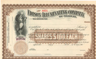 Edison Illuminating Company Battery Company stock certificate 1890's - brown