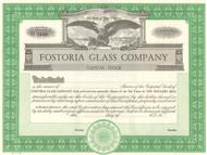 Fostoria Glass Company stock certificate circa 1950 (West Virginia)