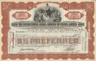 International Nickel Company of Canada Limited stock certificate 1930's - brown