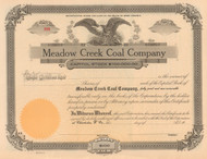 Meadow Creek Coal Company stock certificate circa 1920