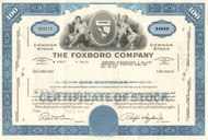 Foxboro Company stock certificate 1960's and 1970's  - blue
