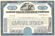 Lehigh Valley Railroad Company unissued stock certificate circa 1950 - blue