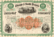 Chicago & South Western Railway Company stock certificate circa 1869