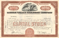 Lehigh Valley Railroad Company issued stock certificate 1949-1950 - brown