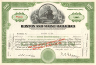 Boston and Maine Railroad stock certificate 1950's - green