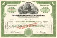 Boston and Maine Railroad stock certificate 1950's - green