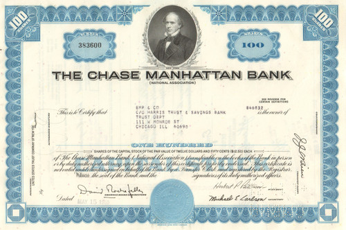 Chase Manhattan Bank stock certificate 1960's  (David Rockefeller) - blue