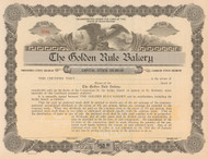The Golden Rule Bakery stock certificate circa 1920 (Washington)
